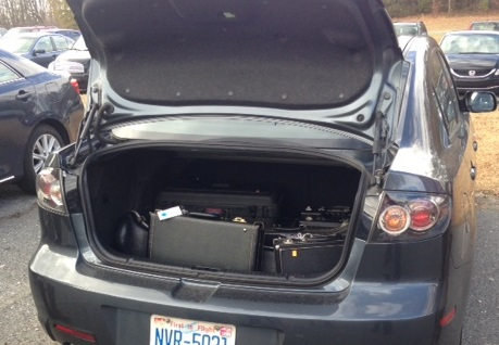 Car packed with donated instruments